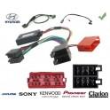 COMMANDE VOLANT Hyundai I800 connecteur rectangulaire - Pour Alpine complet avec interface specifique